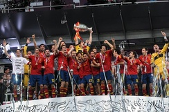 Iniesta and his teammates celebrate winning the UEFA Euro 2012.
