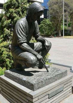 Statue of John Pascoe Fawkner at the site of Melbourne former National Mutual Plaza off Collins Street in Melbourne. Unveiled 26 January 1979