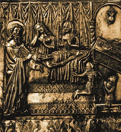 Jelena holding a candle (upper right) at the deathbed of her brother-in-law Stephen, as depicted on Chest of Saint Simeon, dated 1380. She is surrounded by her niece Elizabeth and son(s).