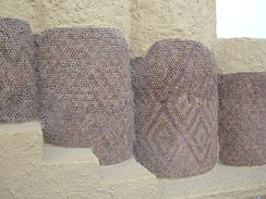 A temple mosaic from the ancient Sumerian city of Uruk IV (3400–3100 BC), showing a tessellation pattern in coloured tiles