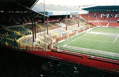 The Stretford End before its redevelopment in the early 1990s