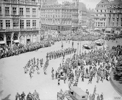 Two tanks passing through Cologne for inspection by the VI Corps Commander, General Aylmer Haldane, June 1919