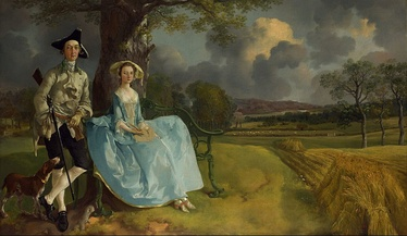 Mr and Mrs Andrews (c. 1750) by Thomas Gainsborough, a couple from the landed gentry,  a marriage alliance between two local landowning families – one gentry, one trade.[1] National Gallery, London.