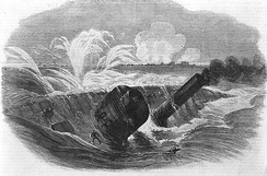 The sinking of the Tecumseh.