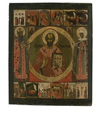 Icon of St. Nicholas the Wonderworker (Dvorischensky); 18th century; wood, gesso & tempera; Ryabushinsky Museum of Icons and Paintings (Moscow)