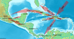 Spanish expansion routes in the Caribbean during the early 16th century