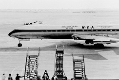 The first jet aircraft to land on the new runway at Dubai Airport in 1965 was a Comet from Middle East Airlines.