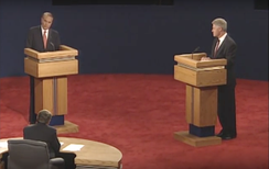 Dole (left) and Clinton (right) at the first presidential debate on October 6, 1996 at The Bushnell Center for the Performing Arts in Hartford, Connecticut.