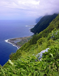 Fajã dos Cubres, in Calheta, São Jorge Island, is one of many fajãs (ancient lava overflows) in the Azores.