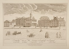 Engraving of Harvard College by Paul Revere, 1767