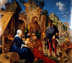Adoration of the Magi (1504), oil on wood Galleria degli Uffizi, Florence
