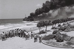Altalena burning near Tel Aviv beach