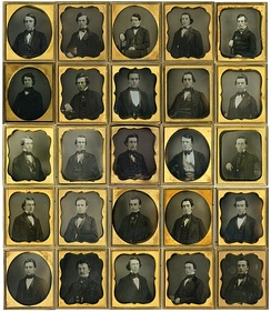 The Amherst class of 1850, including William Austin Dickinson (second row, far left), brother of poet Emily Dickinson