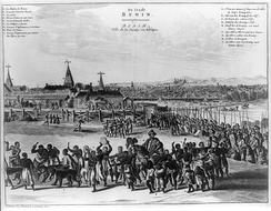 Benin City in the 17th century with the Oba of Benin in procession. This image appeared in a European book, Description of Africa, published in Amsterdam in 1668.[41]