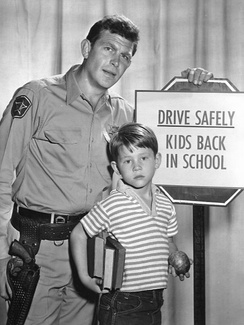 Andy Griffith and Howard in a publicity photo for The Andy Griffith Show (1961)