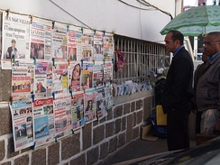 A news stand in Antananarivo