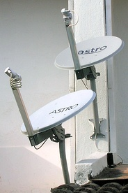 Satellite television dishes in Malaysia.