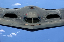 The B-2's engines are buried within its wing to conceal the engines' fans and minimize their exhaust signature