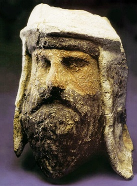 Painted clay and alabaster head of a Zoroastrian priest wearing a distinctive Bactrian-style headdress, Takhti-Sangin, Tajikistan, Greco-Bactrian kingdom, 3rd–2nd century BCE