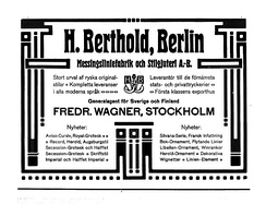 A 1905 advertisement for Berthold in a Swedish printing journal, showcasing its Herold typeface.