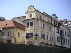 "The Rococo-style ""House of the Good Shepherd"", home to the Museum of Clocks"