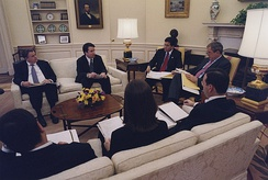 Kavanaugh (second from left) with President George W. Bush and White House staffers