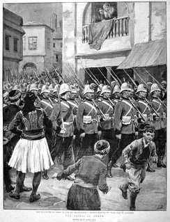Royal Marines parade in the streets of Chania in Crete following the occupation of the island by the Great Powers (Britain, France, Italy, Germany, Austria-Hungary, and Russia) in spring 1897