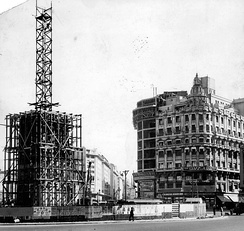 Construction of the Obelisk of Buenos Aires on the 9 de Julio Avenue, 1936.