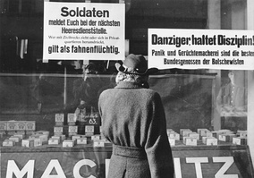 German street posters in Danzig as the Red Army approaches, warning soldiers that escaping with civilians will be treated as desertion.