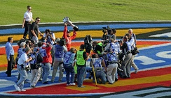 Carl Edwards celebrating his 2007 Busch Series championship.
