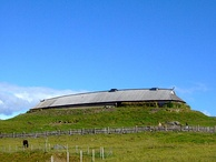 A large reconstructed chieftains longhouse at Lofotr Viking Museum, Norway