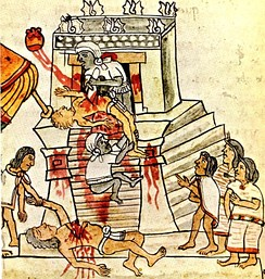 Aztec human sacrifice, from Codex Mendoza, 16th century (Bodleian Library, Oxford).