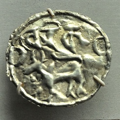 A silver coin with Proto-Bengali script, 9th century