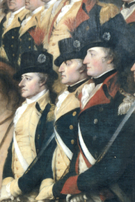 Detail of Surrender of Lord Cornwallis by John Trumbull, showing Colonels Alexander Hamilton, John Laurens, and Walter Stewart