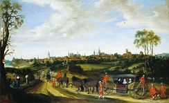 Dutch envoy Adriaan Pauw enters Münster around 1646 for the peace negotiations