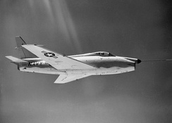 FJ-4F prototype with an additional rocket motor