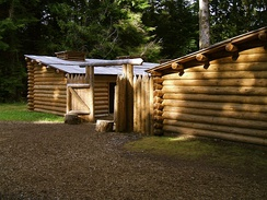 Fort Clatsop reconstruction on the Columbia River near the Pacific Ocean