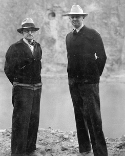 General Superintendent Frank Crowe (right) with Bureau of Reclamation engineer Walker Young in 1935