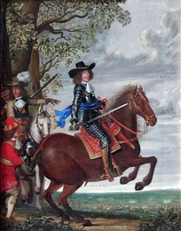 King Frederik III on horseback. Painting by Wolfgang Heimbach.