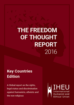 Cover of the downloadable 2016 edition of the IHEU Freedom of Thought Report - Key Countries Edition