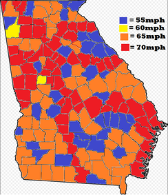 Maximum speed limits per county in Georgia.