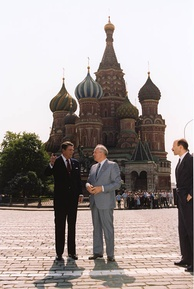 Soviet General Secretary Mikhail Gorbachev and U.S. President Ronald Reagan in Red Square during the Moscow Summit, May 31, 1988