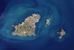 The islands of Guernsey, Herm and Sark (left to right) as seen from space