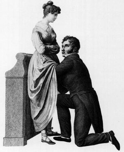 "The historic taboo associated with the examination of female genitalia has long inhibited the science of gynaecology. This 1822 drawing by Jacques-Pierre Maygrier shows a ""compromise"" procedure, in which the physician is kneeling before the woman but cannot see her genitalia. Modern gynaecology no longer uses such a position."