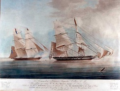 Capture of slave ship El Almirante by the British Royal Navy in the 1800s. HMS Black Joke freed 466 slaves.[132]