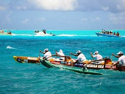 Va'a (traditional Polynesian outrigger canoe) during the Hawaiki Nui Va'a race