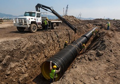 High density polyethylene pipe installation in a storm drain project, Mexico.