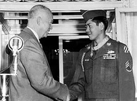 Staff Sergeant Hiroshi Miyamura, a Japanese American U.S. Army soldier and POW with President Eisenhower, after receiving the Medal of Honor in 1953 for meritorious service in the Korean War