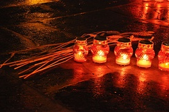 Candles and wheat as a symbol of remembrance during the Holodomor Remembrance Day 2013 in Lviv