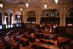 The State Senate Chamber of the Illinois State Capitol in Springfield